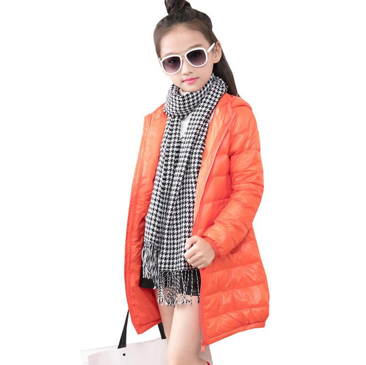 Thin Hooded Zipper Slim Down Jacket For Girls Long Style Simple Solid Color Boys Down Coat Warm Winter Children's Clothing