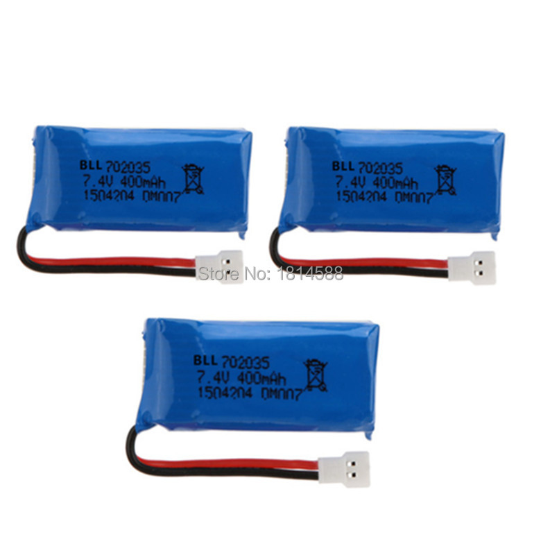 3Pcs Upgraded <font><b>400mAh</b></font> 30C <font><b>Lipo</b></font> <font><b>Battery</b></font> <font><b>7.4V</b></font> 2S for DM007 RC Quadcopter Part image