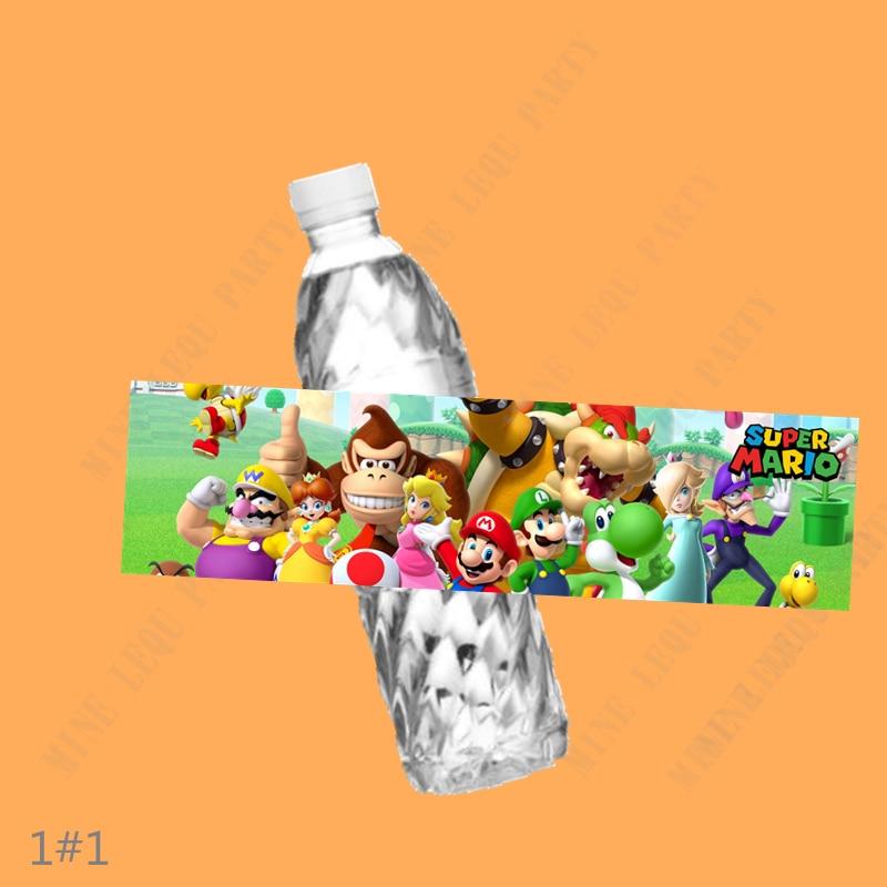 6 шт., наклейки на бутылки для воды в стиле Super Mario Bros