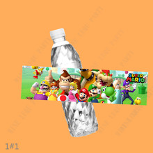 6PCS Super Mario Bros Water bottle label kids Birthday Party Decorations Stickers Baby Shower Christmas candy bar supplies(China)