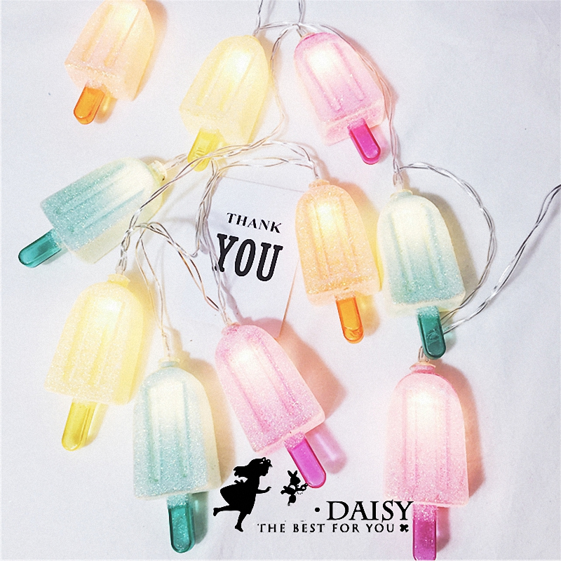 Korean Style Lovely Cute Baby Room Decor Colorful <font><b>Ice</b></font> <font><b>cream</b></font> Stick <font><b>LED</b></font> String Lights Shabby Holiday Theme Party Supplier for Kids