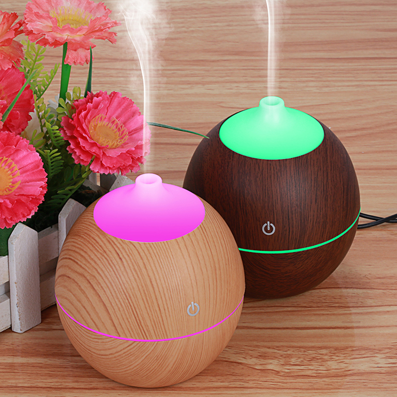 130ml Round Wood with 7 Color Changing LED Lights Ultrasonic Aroma Humidifier USB Air Diffuser Purifier Atomizer oil difusor aroma diffuser 130ml