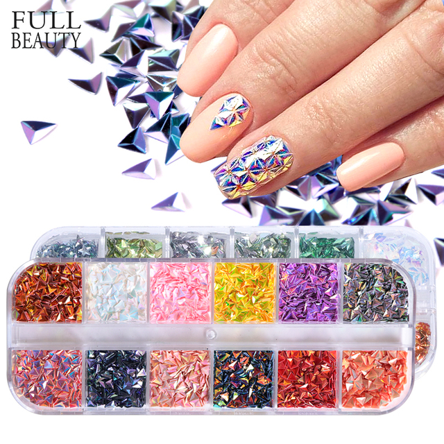 Full Beauty 1 Set Nail Sequins Chameleon Triangle Rhombus Glitter Art Flakes Paillette Decoration