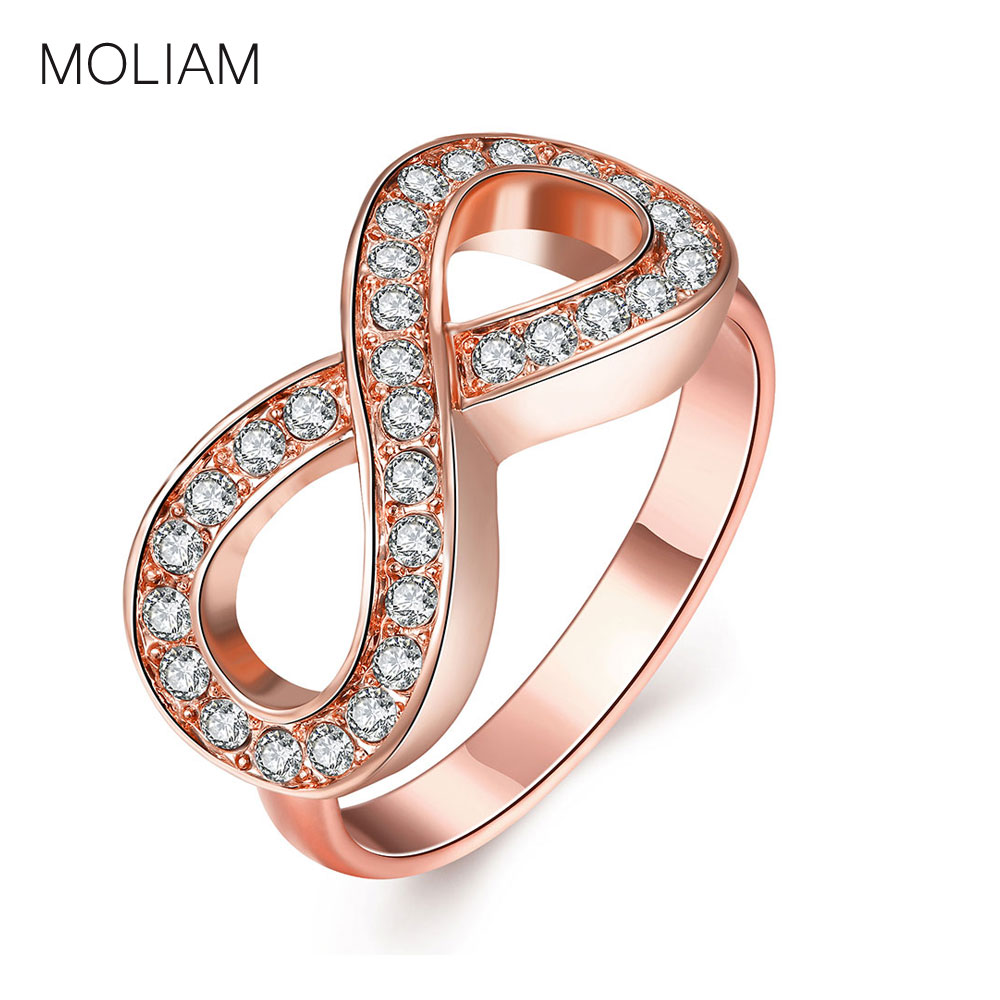 Moliam Infinity Engagement Rings For Women Rose Goldcolor Cubic Zirconia  Wedding Band Ring Love