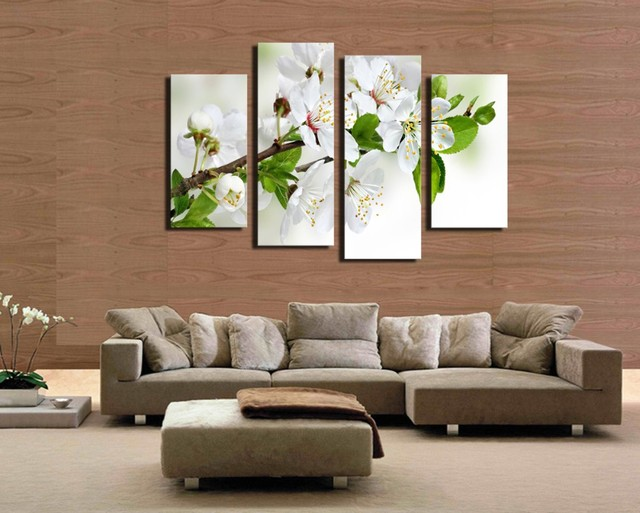 4 pcs popular hd modern wall painting white and green flowers home wall art picture paint