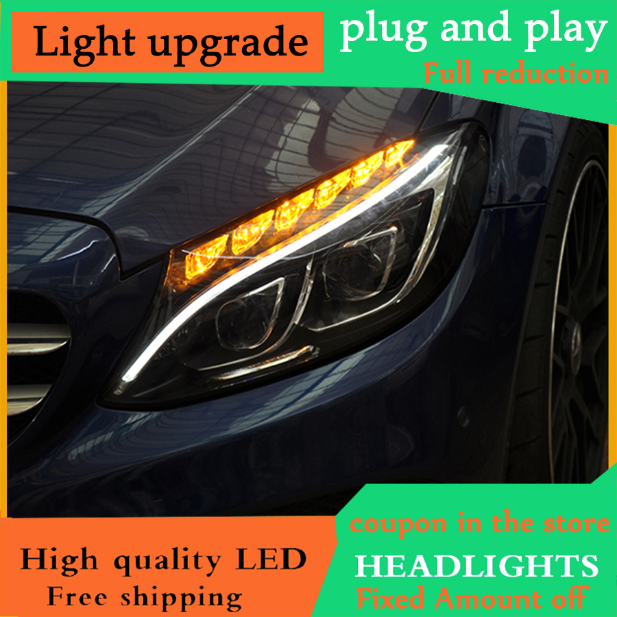 D YL Car Styling for for W205 Headlights 2014 2017 C300 C260 New ALL LED Headlight