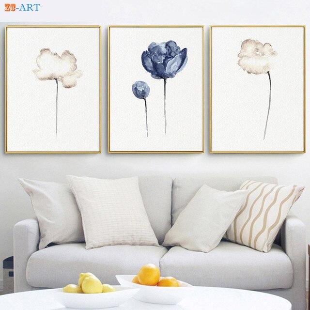 White Poppy Flower Prints Nursery Wall Decor Navy Blue Wall Art