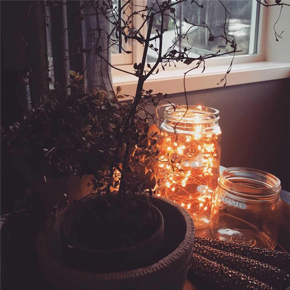 Guirnalda de alambre de cobre Led de 1M y 2 M, guirnalda de luces LED para Navidad, boda, fiesta en casa, decoración alimentada por batería CR2032