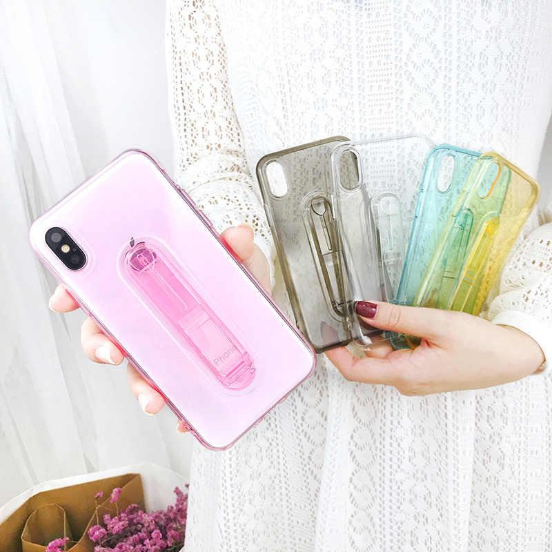 Clear soft Bracket ซิลิโคนกรณีสำหรับ iPhone 6 วินาที 6 วินาที 7 7 วินาที 8 Plus X 10 5 วินาที SE 5SE 6 Plus 6 SPlus 7 Plus 8 Plus โทรศัพท์มือถือ