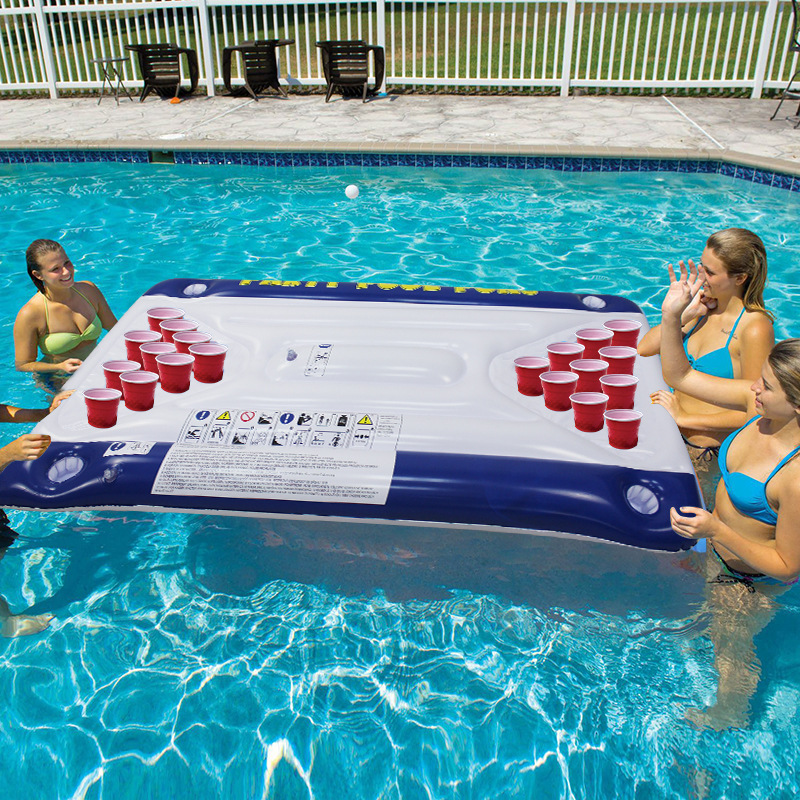 Hot Selling 24 Cup Holder PVC Inflatable Beer Pong Table Pool Float Summer Water Party Fun Toys Air Mattress Lounge Ice Bucket