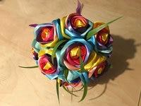 Handgemaakte zijden rose gorgeous bruidsboeketten Rainbow rose kunstbloemen 2017520