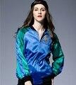 Женская мода вышивка Бейсбол равномерное женщина растительный узор куртки женщины синий зеленый Сращивания пальто дамы куртка бомбардировщика LX6042