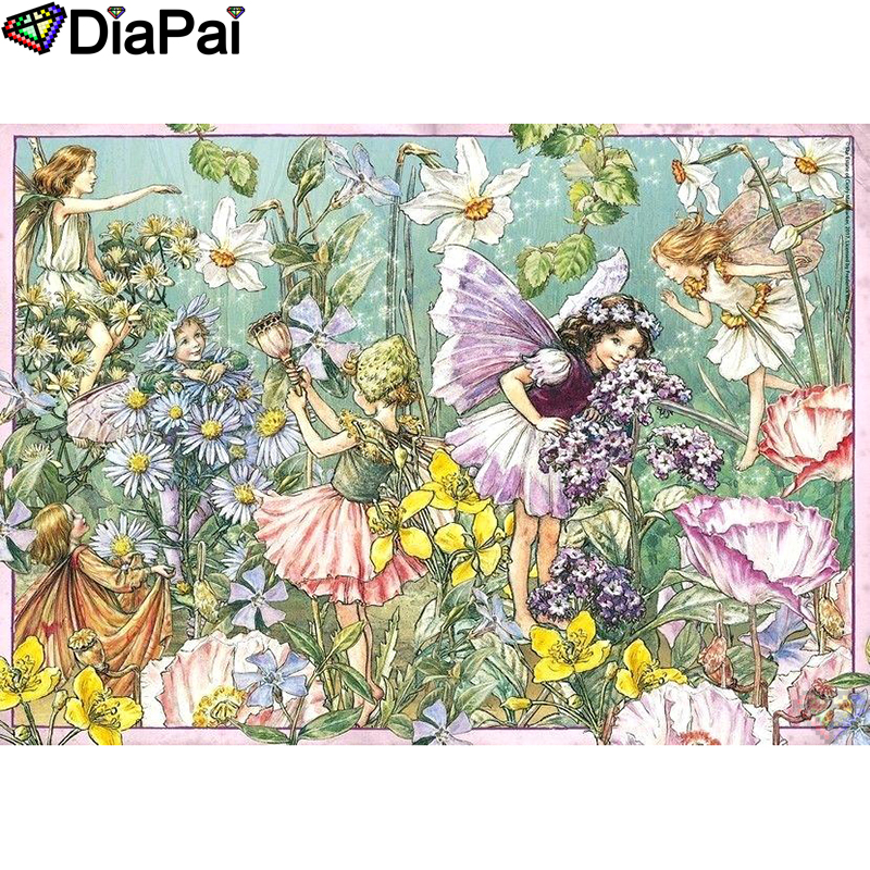 DIAPAI 5D DIY Diamond Painting 100 Full Square Round Drill quot Cartoon character quot Diamond Embroidery Cross Stitch 3D Decor A21968 in Diamond Painting Cross Stitch from Home amp Garden