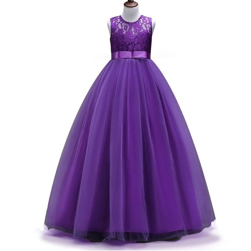 4-14yrs Кружево для детей и подростков Обувь для девочек Свадебные Длинные платье для девочек элегантное платье принцессы праздничное платье торжественное платье одежда без рукавов для девочек