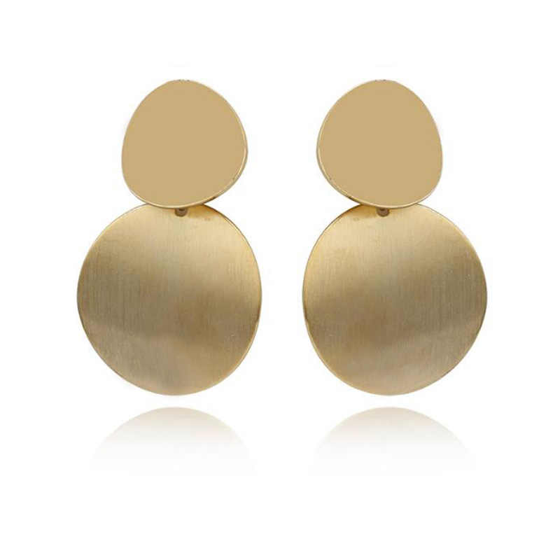 RscvonM New Fashion Geometric Double Round Coin Earrings For Women Fashion Punk Gold Indian Long Drop Earrings Jewelry Brincos