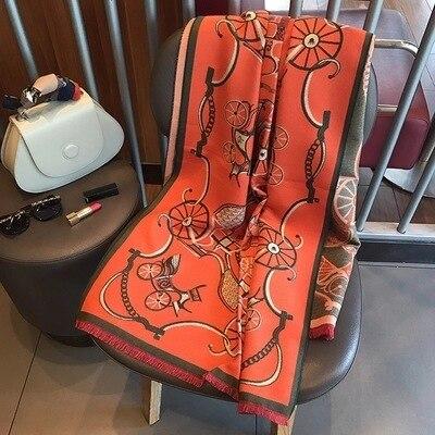 2019 Winter Wagen Warme Verdicken Schal Frauen Luxus Marke Big Pashmina Kaschmir Poncho Decke Wrap Wolle Bandana Hijab Schal