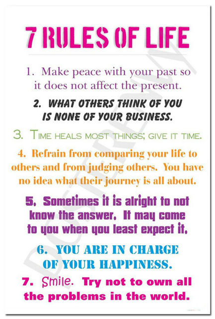 7 Rules Of Life Quote Interesting J2363 7 Rules Of Life Motivational Quote Pop 14X21 24X36 Inches