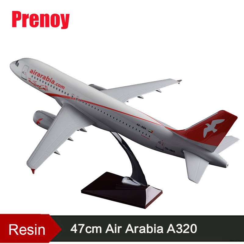 47cm A320 Resin Aircraft Model Airbus Air Arabia Aircraft Airplane Airways Stand Crafts Arabia A320 International Plane Model new phoenix 11207 b777 300er pk gii 1 400 skyteam aviation indonesia commercial jetliners plane model hobby