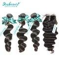 3 bundles rosa productos para el cabello de cierre brasileño de la virgen pelo suelto wave lace closure con borde total 4 unids/lote envío gratis