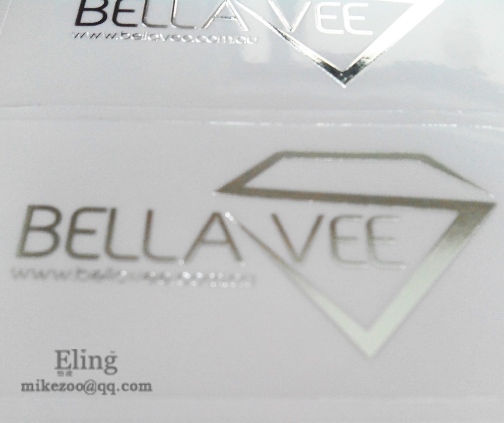 Personalized silver foil hot stamping transparent pvc label sticker put your logo on item no cu10