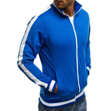 ZOGAA Men Thin Jackets Sports New Fashion Casual Stand Sleeve Zipper Cotton Slim Solid Jacket Long Tops Coat