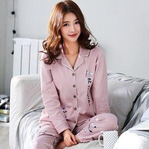 Image 3 - Женская Хлопковая пижама с длинным рукавом BZEL, розовая пижама с рисунком лисы, домашняя одежда для отдыха, M 3XL