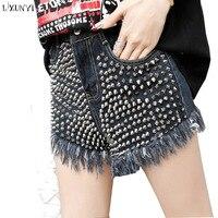 LXUNYI High Waist Denim Shorts Women Street Style Personality Rivet Fashion Loose Shorts Summer Tassel Embroidered Flares jeans
