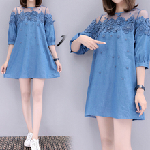 Spring and summer new style Embroidered beaded denim dress Lace stitching fashion temperament