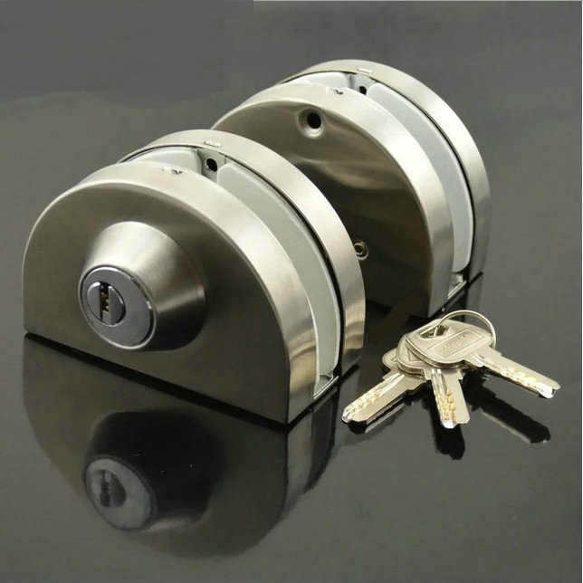 Premintehdw Entry Gate 10-12mm Glass Swing Push Door Lock Keys Frameless side by side double doors boring Free Thumb Turning