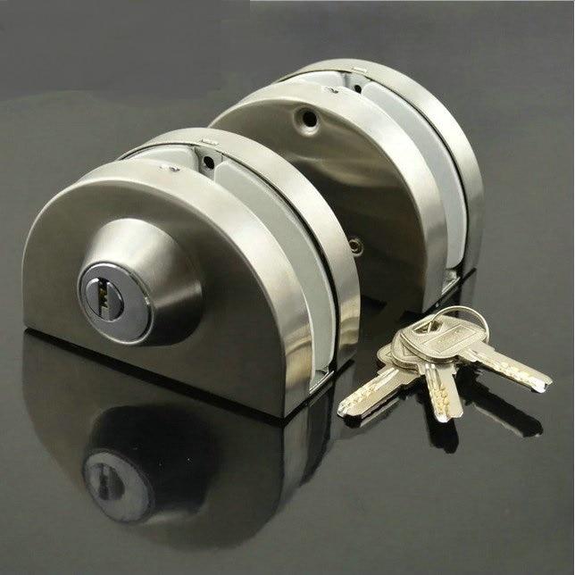 Premintehdw Entry Gate 10-12mm Glass Swing Push Door Lock Keys Frameless side by side double doors boring Free Thumb Turning