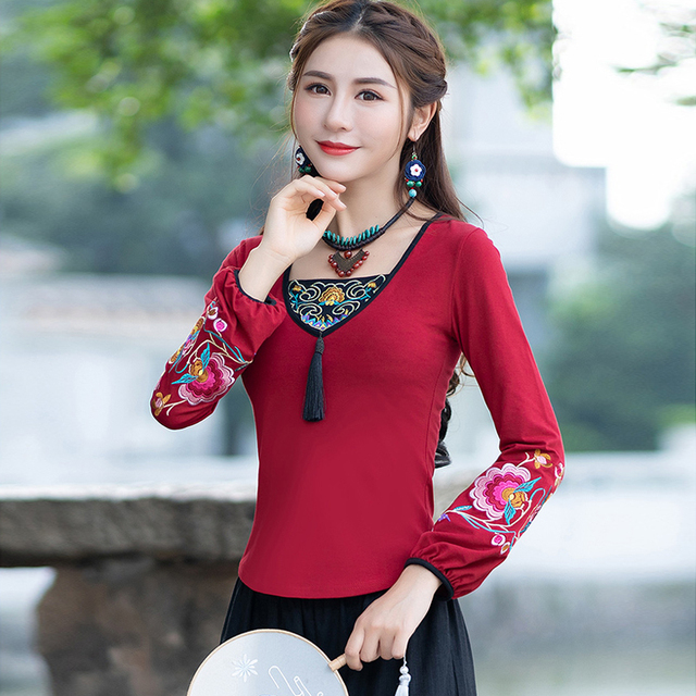 d830ad2f38 KYQIAO women pullover blusas mujer de moda 2018 female autumn spring Mexico  style ethnic long sleeve v neck tassels shirt top