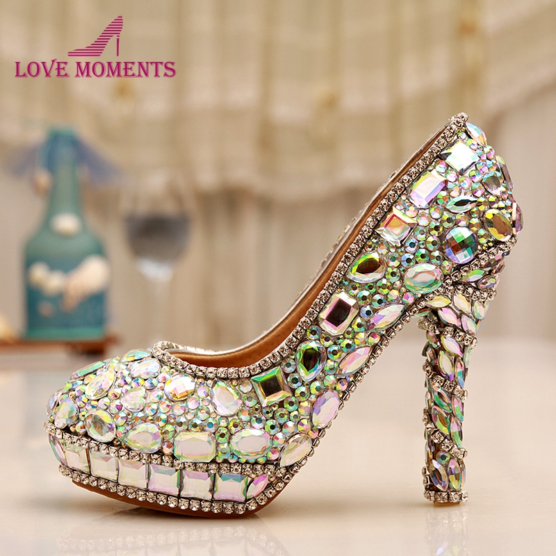 AB Crystal Heels Luxury Diamond Platform Bridal Pumps Wedding Shoes Lady Sparkling Prom Party Shoes Mother of Bride Shoes ab crystal diamond exquisite wedding shoes sparkling rhinestone handcraft bridal shoes thin heel evening prom party women pumps