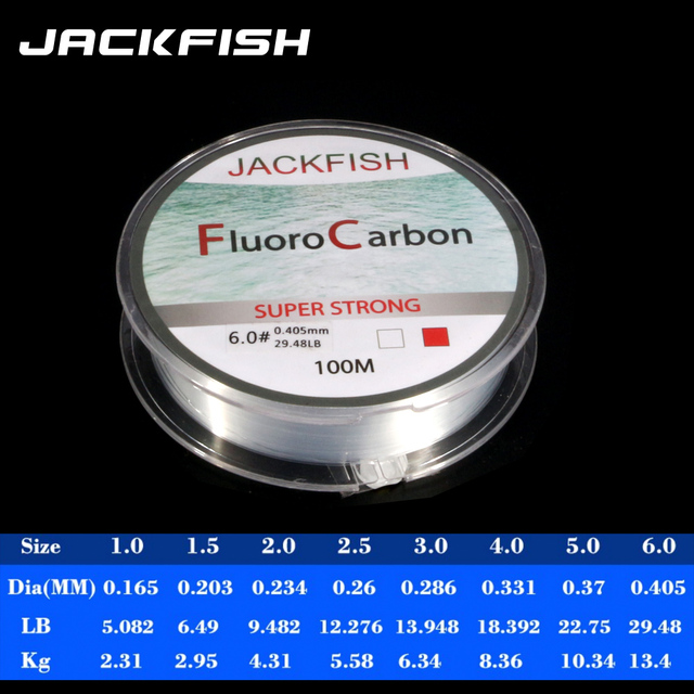 JACKFISH 100M Fluorocarbon fishing line 5-30LB Super strong brand Leader Line clear fly fishing line pesca 4