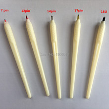 Top Sale 30pcs/lot 3D Disposable Microblade Pen With 7/12/14/17CF & 18Uneedles For Makeup Eyebrow Tattoo Pen Machine