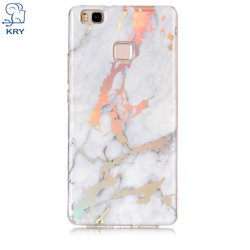 KRY Soft Plating Phone Cases For Huawei P9 Lite Case Shiny Laser Marble TPU Cover For Huawei P9 Lite Case Glossy Capa Coque