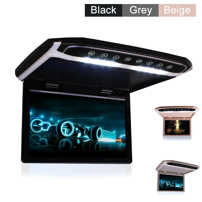 купить Car Roof Mounted Overhead Flip Down MP4 MP5 Video Player 10 12 15 Inch HD LED Monitor with HDMI SD AV InPut 16GB Card and Reader по цене 8459.75 рублей