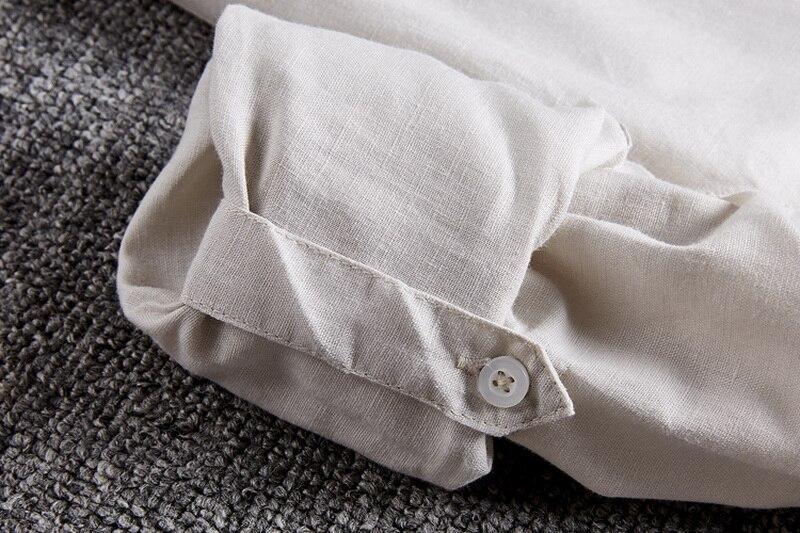 Neue Art Cotton + Linen Shirt Men Slim Fit Langarm Herrenhemd Leinen - Herrenbekleidung - Foto 5