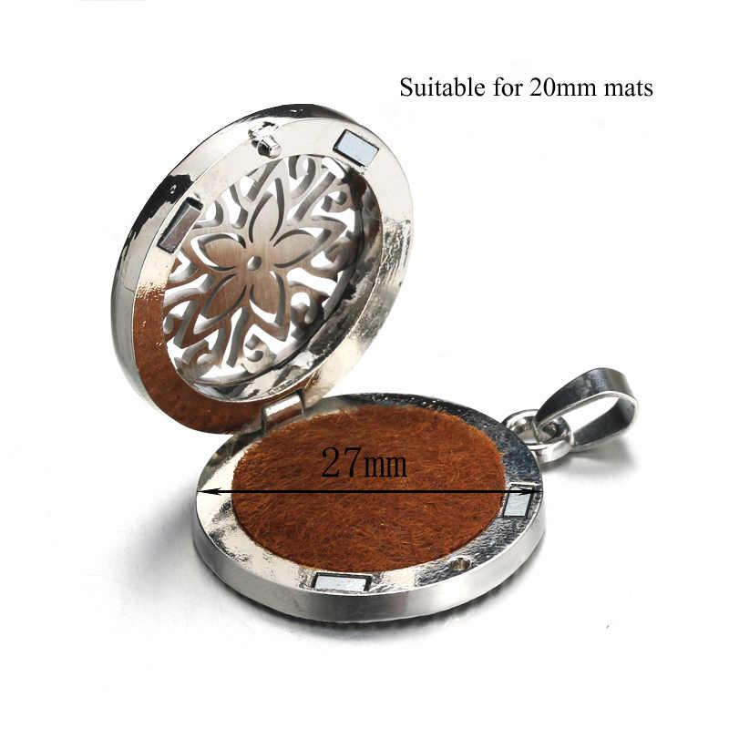 Nowy naszyjnik medalion aromaterapii 11 wzorów srebrny naszyjnik dyfuzor olejków eterycznych naszyjnik ze stali nierdzewnej zawieszka z odświeżaczem