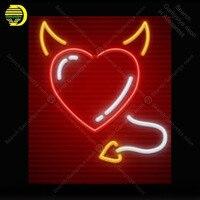 Неоновые световые знаки Сердце с рожками и хвостом неоновая лампа знак не Светодиодная лампа ручной работы дисплей неоновый Letrero неоновый ...