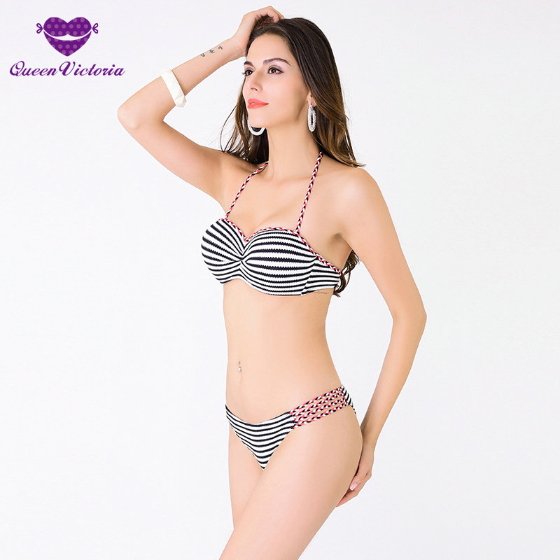2016 women Strip Bikini Set sexy halter bandage Swimwear Summer Beach bathing suit biquinis Push-UP bra Maillot de Bain bikini set women swimwear 2016 new sexy halter neck maillot de bain push up bikinis women s swimming suit low waist bathing suit