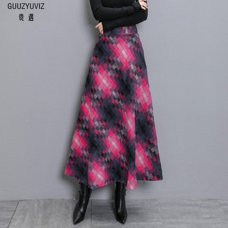 GUUZYUVIZ Plus Size Women Long Skirt Casual Skirts Womens Winter High Waist Loose Woman Skirt Plaid Faldas Mujer Moda 2018