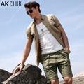 AK CLUB Brand Shorts Men Casual Military Vintage Baggy Short Pants For Men 100% Cotton Casual Pants Khaki New Men Shorts 1414010