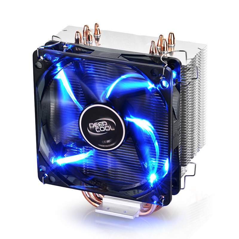 DEEPCOOL GAMMAXX 400 CPU Cooler 4 Heatpipes PWM Fan Intel LGA1151 AMD AM4 12cm Blue LED Heatsink Gaming Desktop PC De-Vibration image