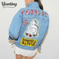 New Fashion Korean Women S Personality Jeans Jacket Letter Printing Denim Jacket S M L