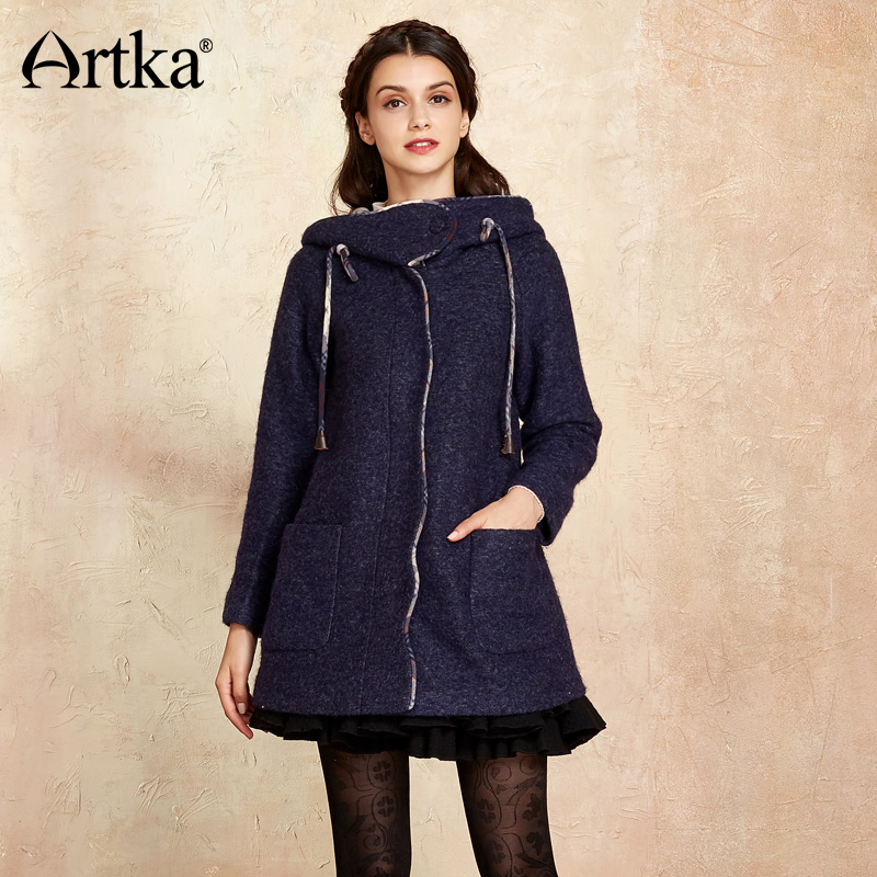 Artka Wool Coat Womens Winter Jackets 2018 Autumn Coat Female Hooded Outwear Vintage Jacket Plus Size Ladies Overcoat WA10075D