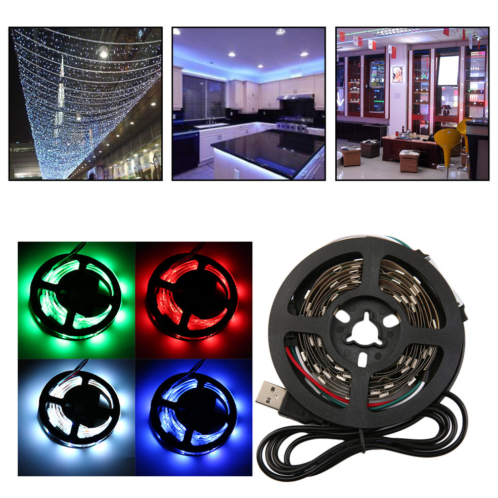 цена на 10 PCS 12 RGB 5050 SMD No Waterproof Flexible USB 5V LED White Strip Lamps