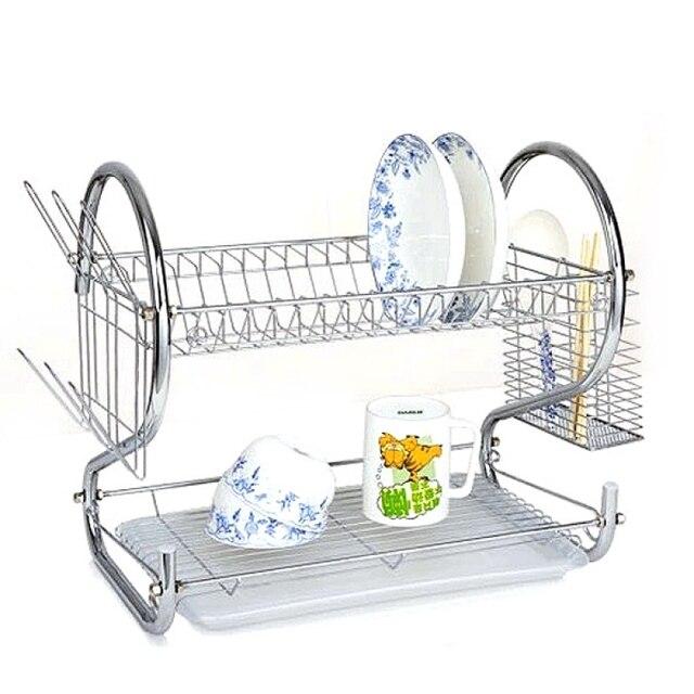 Kitchen Metal Dish Drying Rack Shelf Holder Tableware Organizer Shelf Plate Flatware Drain Cup Rack Bowl Sponge Holder