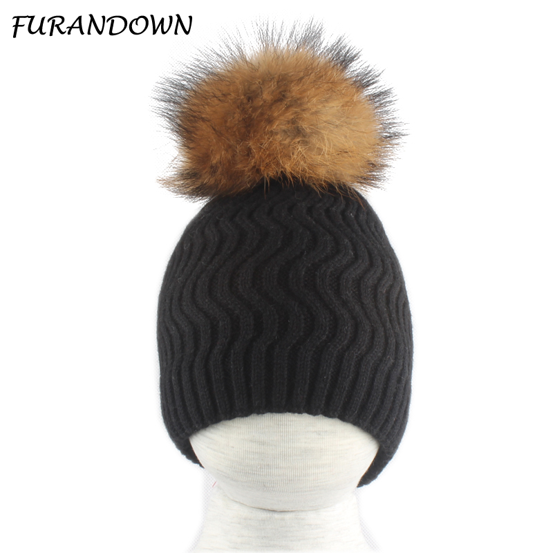 Real Fur Pompom Children   Beanie   Hats For Girls Kids Winter Warm Knitted Baby Cap Wool   Skullies     Beanies
