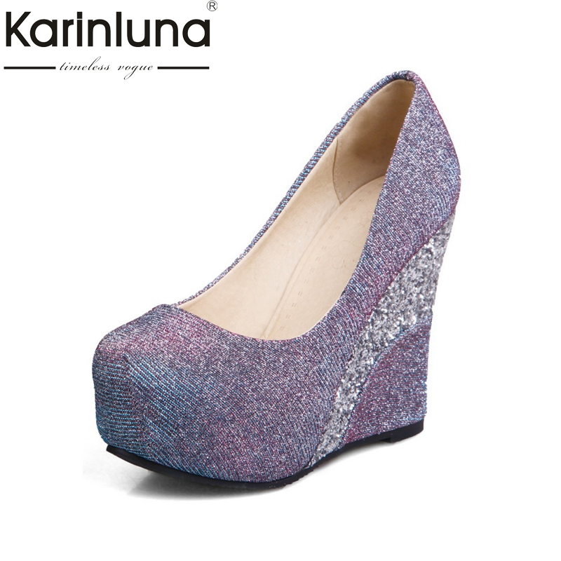 KARINLUNA brand shoes bling upper large size 33-43 top quality pumps women shoes sexy wedge high heels bride wedding shoes woman