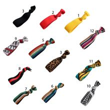 Korean Women Elastic Wide Rubber Rope Glitter Rainbow Striped Leopard Hair Ties Knotted Ponytail Holder Decorative Scrunchies